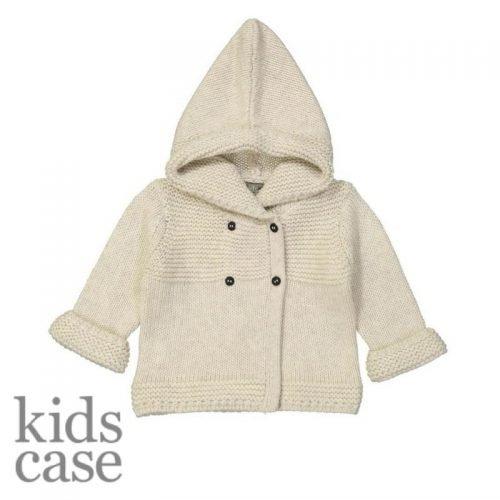 Baby vestje kidscase gebroken wit wollen cardigan met capuchon