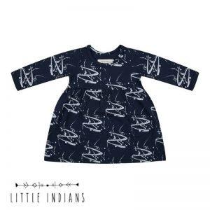 Flash jurkje little indians merk babykleding organic blauw