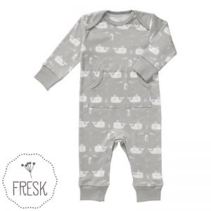 Fresk babykleding organic onesie grijs walvis