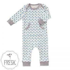 Fresk babykleding onesie wit blauw strikjes