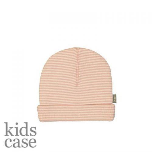 Kidscase mutsje roze gestreept met wit newborn