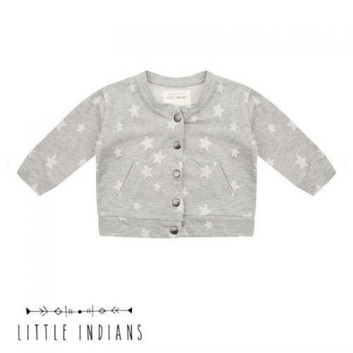 Merk babykleding little indians vestje sterren grijs organic