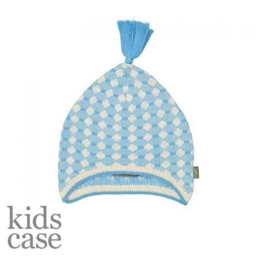 Newborn mutsje kidscase blauw gebroken wit met blauw