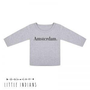 Amsterdam T-shirt longsleeve little indians grijs babykleding