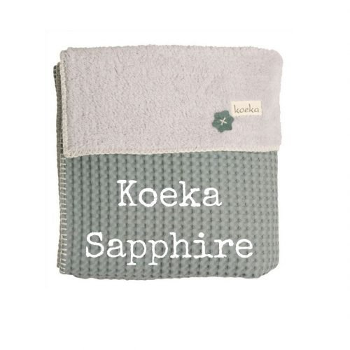 Koeka Sapphire wiegdeken bij wieg saffier groen teddy wafel