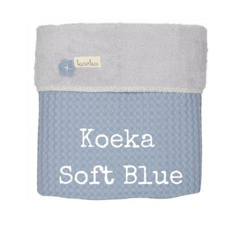 Koeka Soft Blue wiegdeken bij wieg blauw teddy wafel