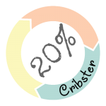 20% korting op wieg huren goedkoop en duurzaam logo zonder achtergrond
