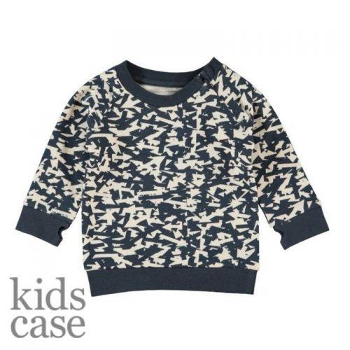 Kidscase sweat organic truitje babykleding blauw met witte vlakken