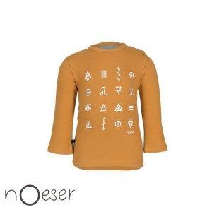 Longsleeve nOeser babykleertjes t-shirt hiërogliefen symbolen oker geel