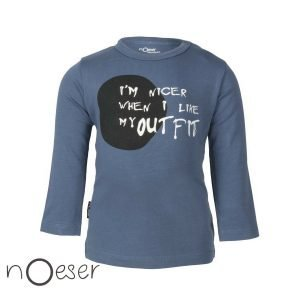 nOeser babykleding bas t-shirt outfit I'm nicer when I like my outfit blauw