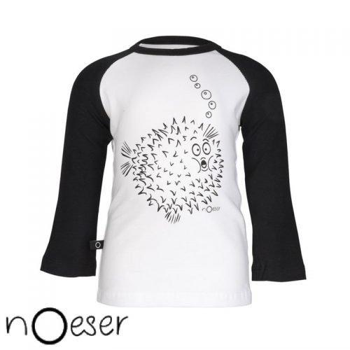 nOeser babykleding longsleeve t-shirt fish vis zwart wit