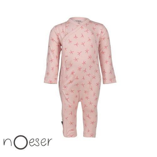 nOeser babykleding onesie jumpsuit bird foot vogelvoetje roze