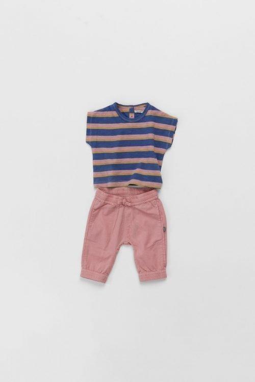 Imps Elfs organic babykleding gestreept t-shirt roze broekje