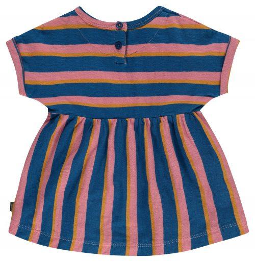 Imps Elfs organic babykleding jurkje blauw roze gestreept achterkant