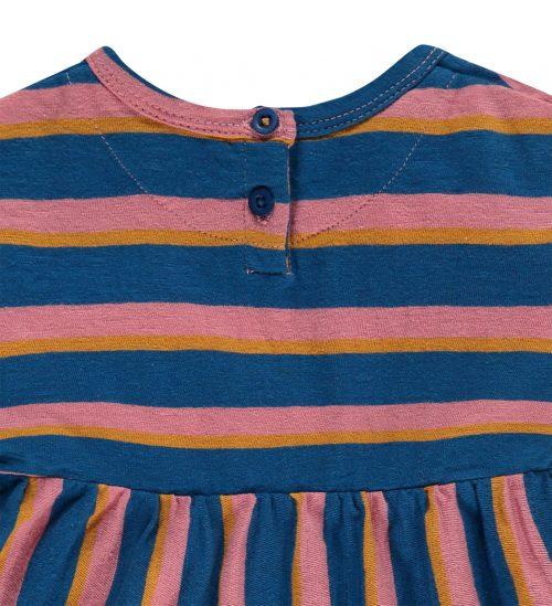 Imps Elfs organic babykleding jurkje blauw roze gestreept