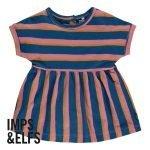 Imps Elfs organic babykleding jurkje blauw roze gestreept voorkant