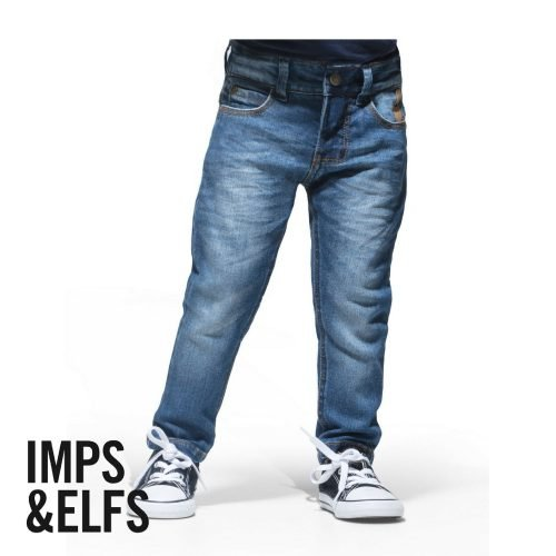 Imps Elfs babykleding jeans denim blauw spijkerbroekje baby voorkant met all stars