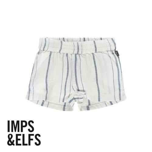 Imps Elfs organic babykleding kort linnen broekje wit met blauwe streep voorkant