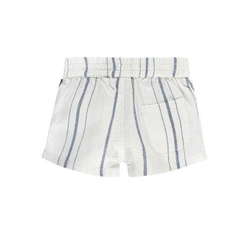 Imps Elfs organic babykleding kort linnen broekje wit met blauwe streep achterkant
