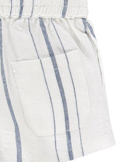 Imps Elfs organic babykleding kort linnen broekje wit met blauwe ingezoomt