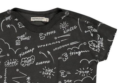 Imps Elfs organic babykleding t-shirt zwart met tekst ingezoomt