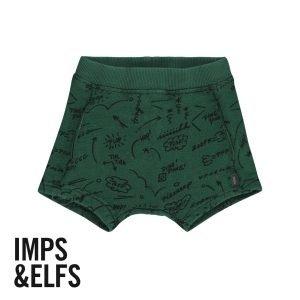 Imps Elfs organic babykleding kort broekje groen tekst voorkant