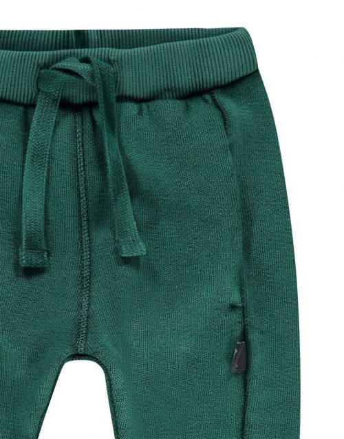 Imps Elfs organic babykleding sweat pants joggingbroek groen ingezoomt