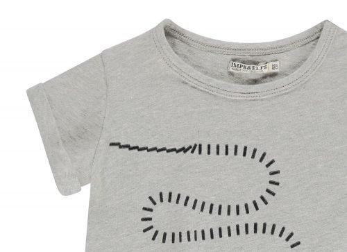 Imps Elfs organic babykleding snake slang grijs t-shirt ingezoomt