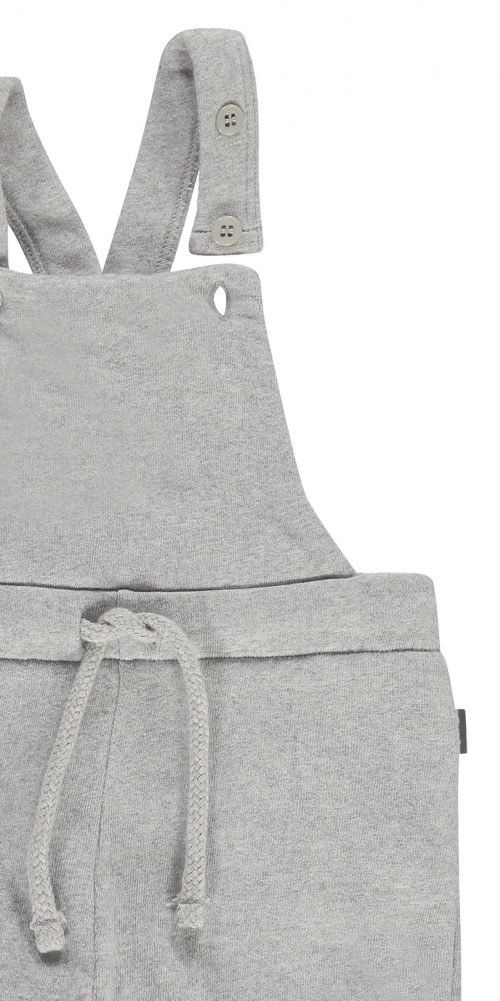 Imps Elfs organic babykleding jumpsuit tuinbroekje grijs sweat stof ingezoomt