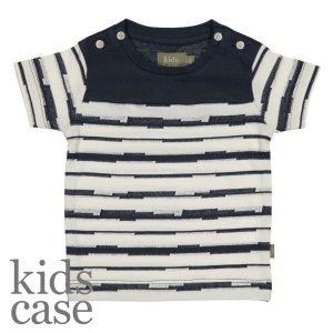 Kidscase babykleding organic syd organic t-shirt gestreept blauw met wit