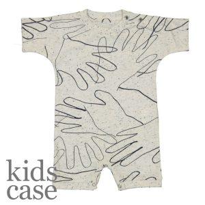 Kidscase babykleding hands handen grijs suit onesie korte mouwen