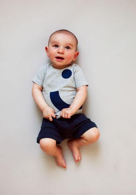 Kidscase babykleding organic smile t-shirt grijs blauw