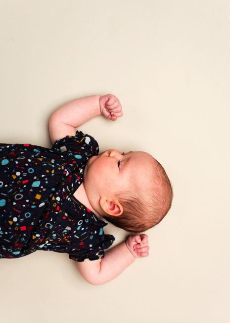 Kidscase babykleding organic jurkje blauw met vormen