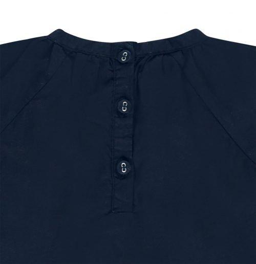 IMPS Elfs jurkje blauw organische babykleding ingezoomd achterkant