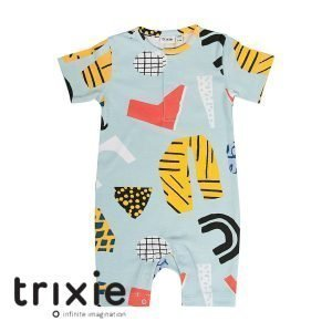 Trixie onesie short bingo blauw organic babykleding