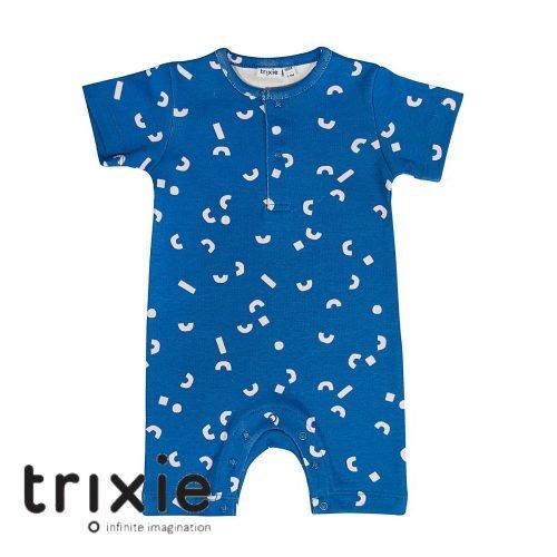 Trixie onesie short play blauw organic babykleding