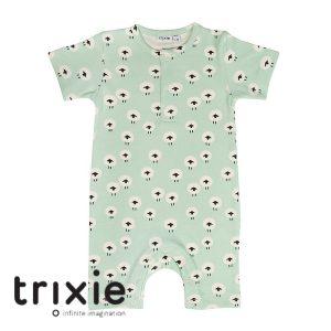 Trixie onesie short turquoise schaapjes organic babykleding