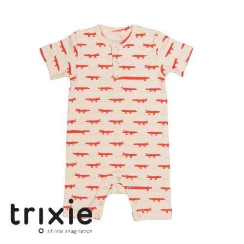 Trixie onesie short wit rood krokodil GOTS babykleding