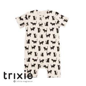 Trixie onesie short zwart wit katjes cats organic babykleding