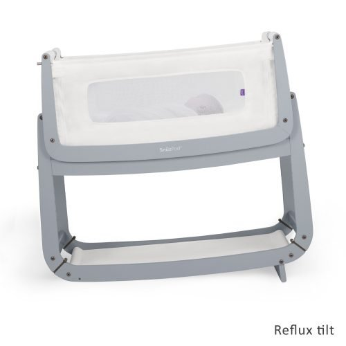 Snüz Dove grey snuzpod 3 co-sleeper reflux stand